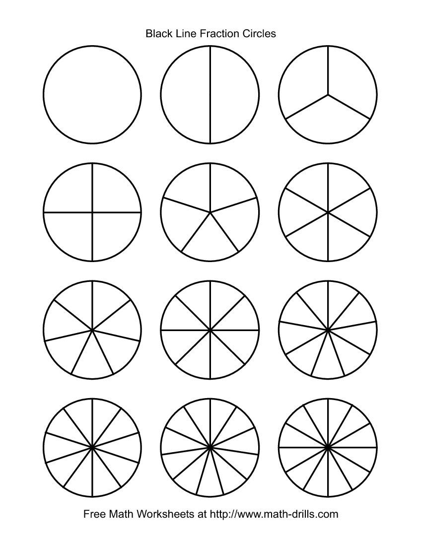 Blackline Fraction Circles Small Unlabeled – Fractions Worksheets Printable