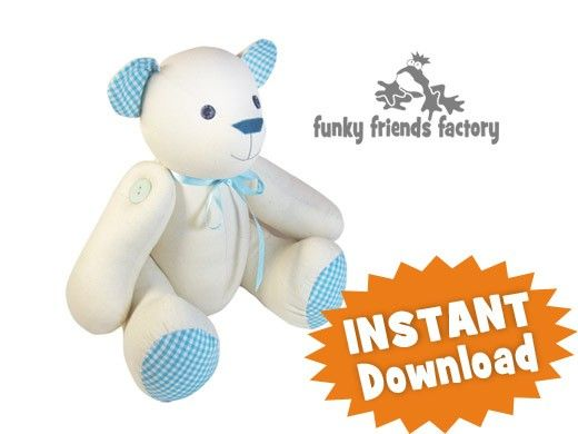 Signature Bear - Calico Teddy Bear INSTANT DOWNLOAD Sewing e Pattern ...