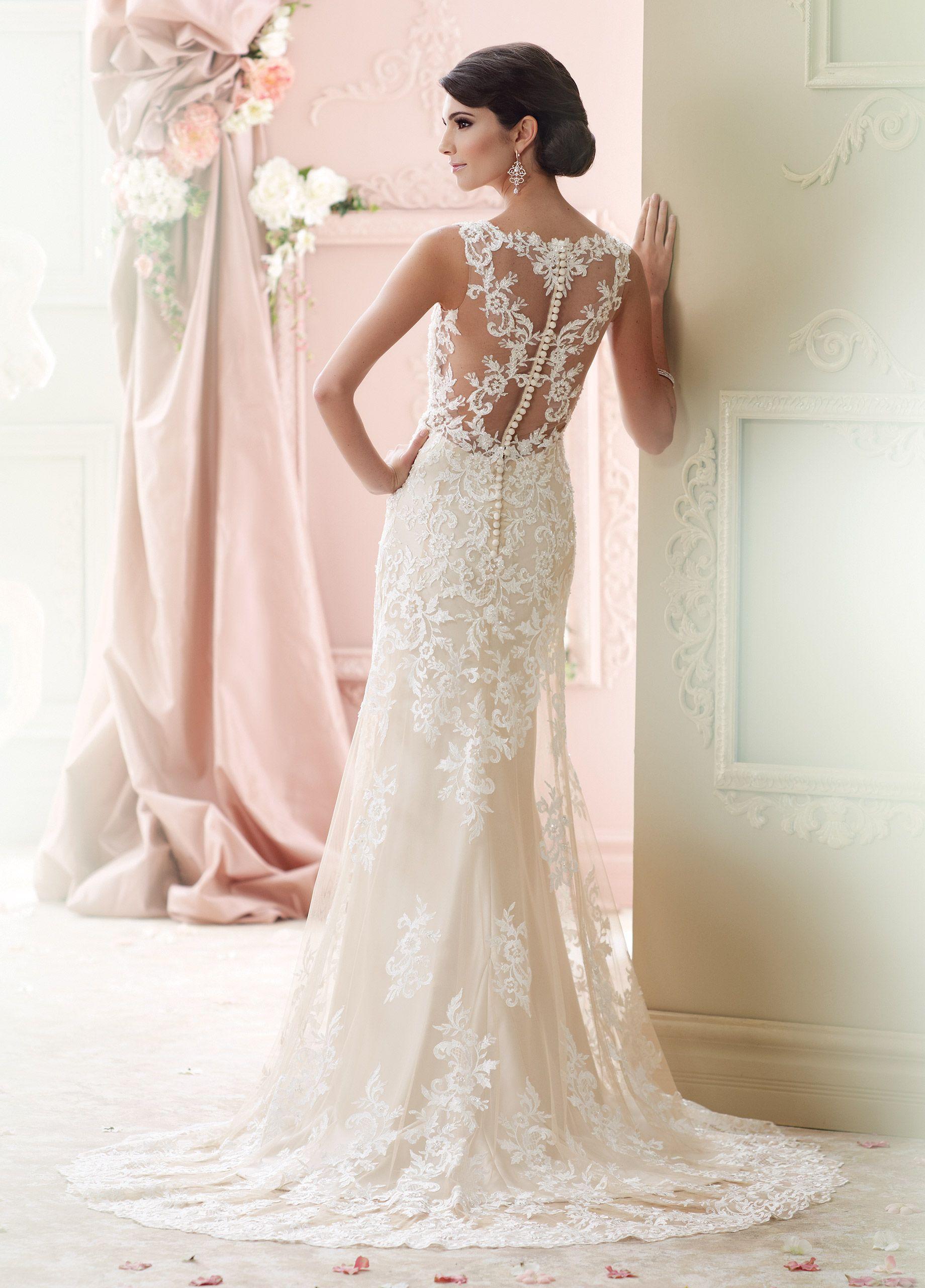 Vintage Lace Plunging Neckline A-Line Wedding Dress- 215278 Florine ...