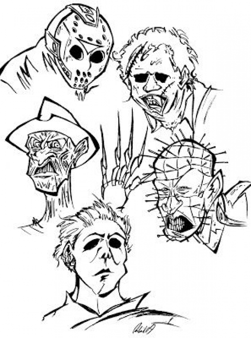 Horror Movie Coloring Pages Smallwoodcrafts Coloring Book Art Coloring Pages Halloween Coloring Pages
