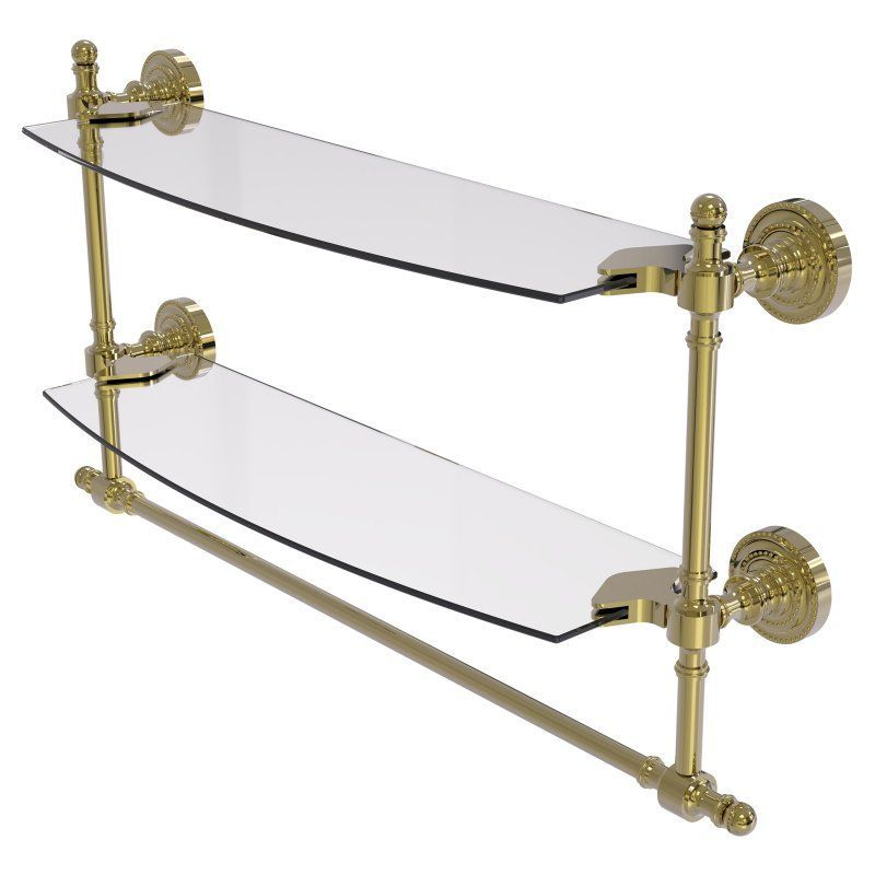 Allied Brass Retro Dot Two Tiered Glass Shelf with Integrated Towel ...