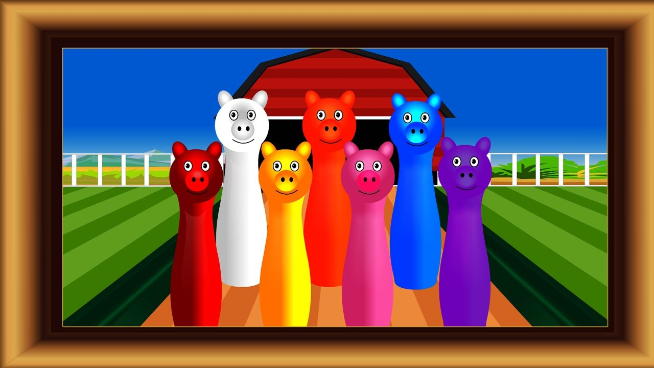 Learn colors with Bowling Peppa Pig.Learning Video for Kids Toddler Baby...