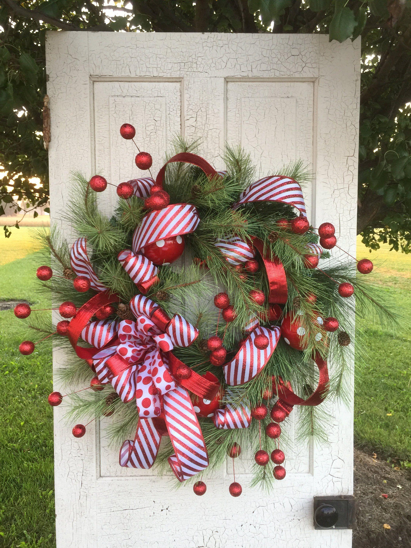 Large Christmas Wreath Red Christmas Wreath Whimsical Christmas