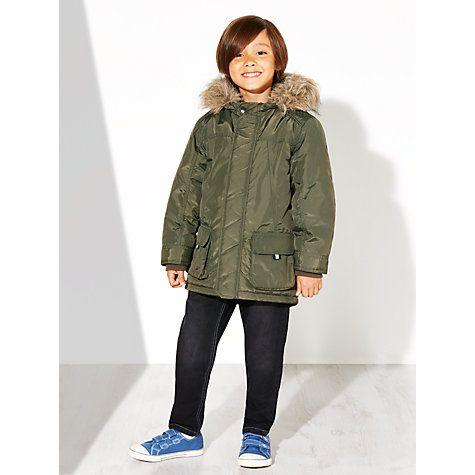 cd479237be6 John Lewis Boy Collins Faux Fur Trim Parka, Khaki | Toddler fashion ...