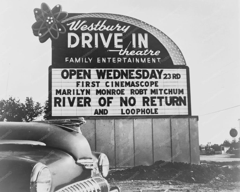 Westbury Drive In Movie Theatre 1950s 8x10 Reprint Of Old Photo Drive In Movie Theater Drive In Movie Drive In Theater