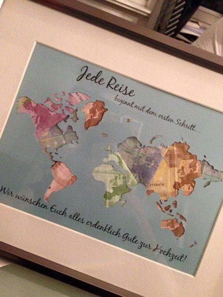 weltkarte hochzeitsgeschenk Hochzeit   Individuelle Geschenkidee *Weltkarte* Geldgeschenk  weltkarte hochzeitsgeschenk