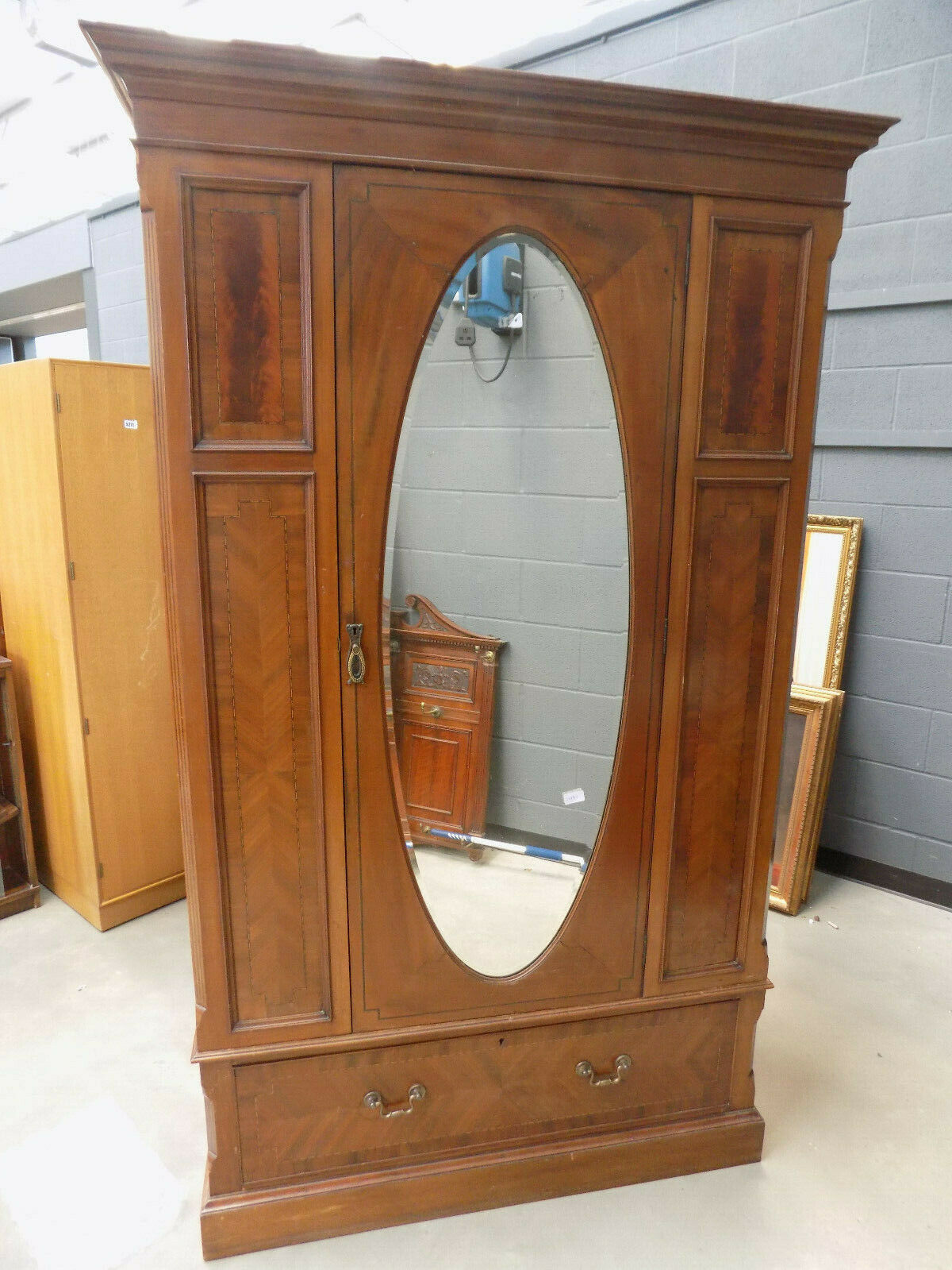 Best Edwardian Antique Mahogany Double Wardrobe Mirrored Door Hanging Rails Drawers Vinterior Co 640 x 480
