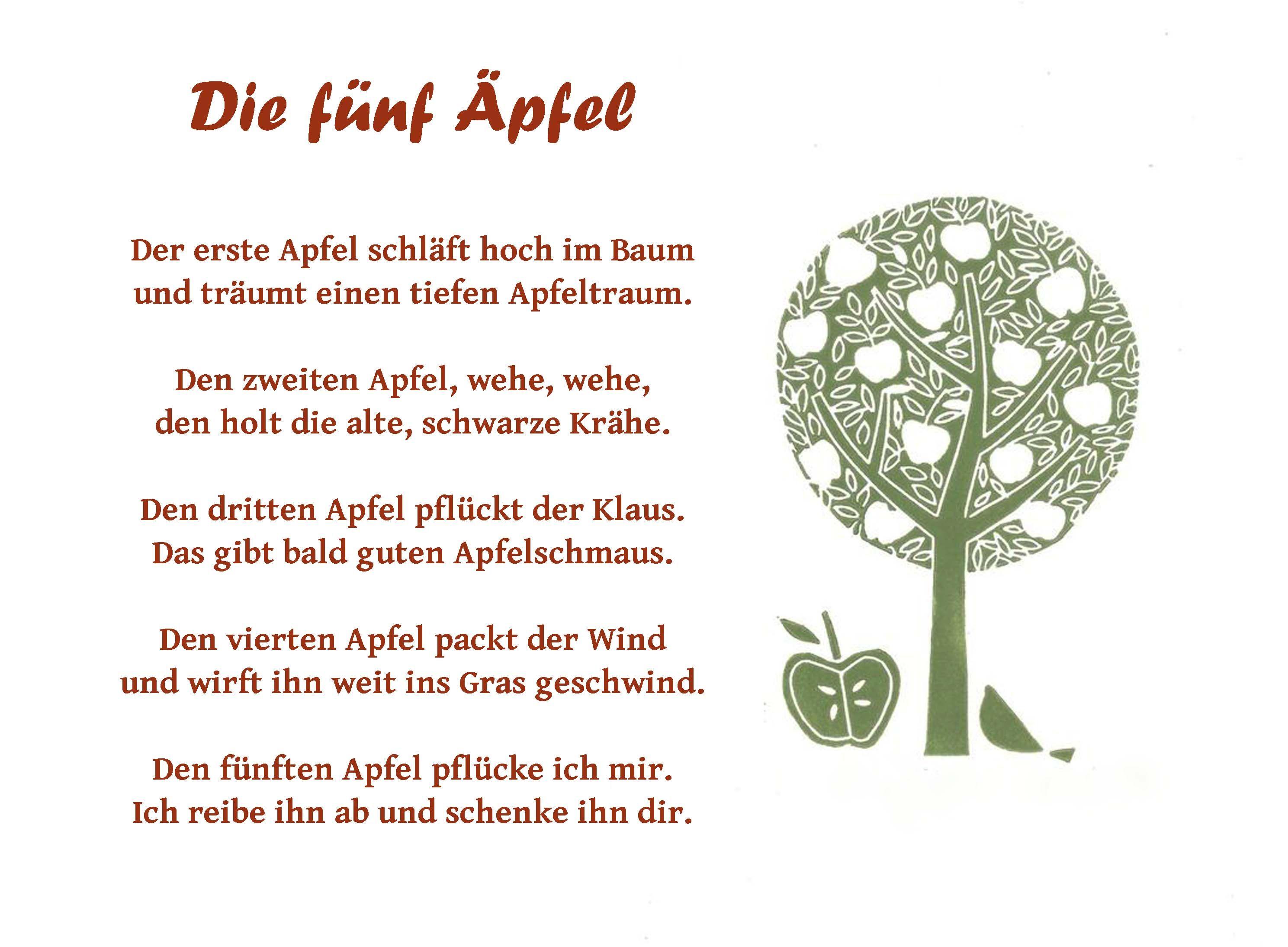 Die Fünf äpfel Apfel Thema Kinder Gedichte Und