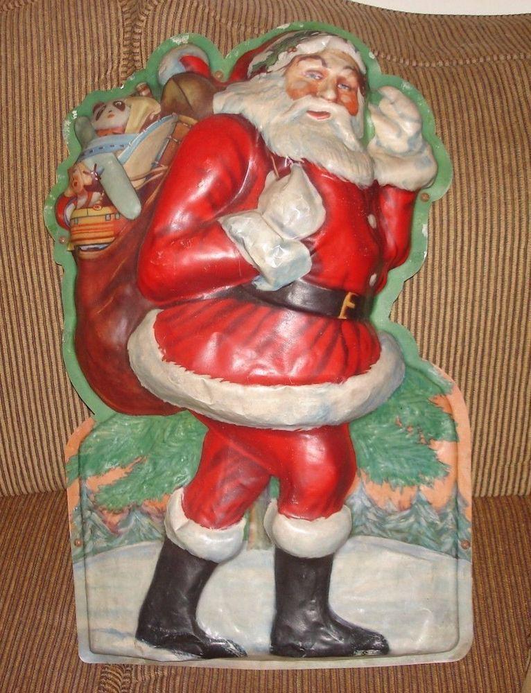 Vintage 24 inch Santa Claus Light Up Wall Plaque 1950's Era | eBay