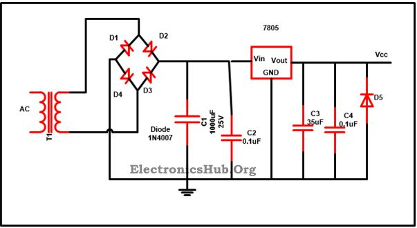 7805 ic voltage regulator circuit working and applications voltage regulator  circuit diagram