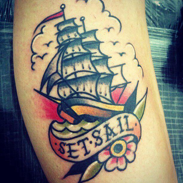 Shipwreak Traditonal Tattoo: Traditional Tattoos. Another Cute Sail Ship.