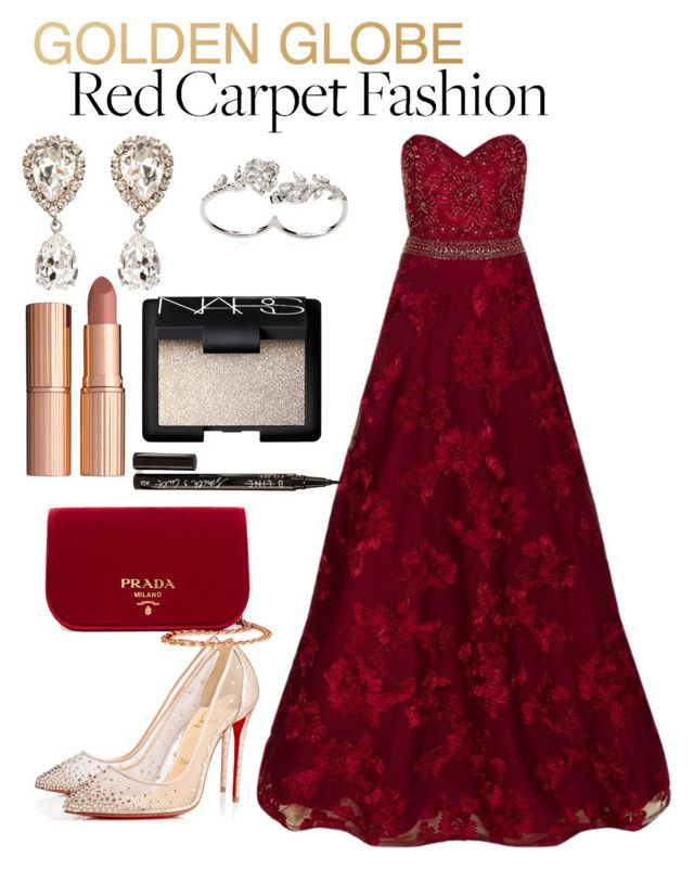 """""""Golden Globes Awards"""" by aconrad36 on Polyvore featuring Jovani, Christian Louboutin, Dolce&Gabbana, Apples & Figs, Prada, Charlotte Tilbury, NARS Cosmetics and Smith & Cult"""