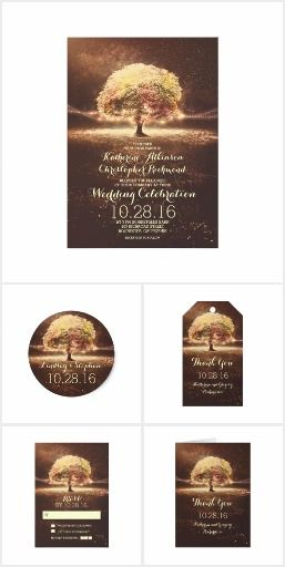Wedding Invitation Collection With Lights Tree Romantic and dreamy wedding collection inspired by colorful trees in autumn. Invite features romantic tree decorated with string lights. Tree glows under the stars. Perfect invite for night lights inspired wedding, for evening wedding reception and more..