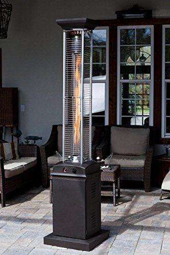Golden Flame Square Flame Commercial 46 000 Btu Mocha Bronze Quartz Glass Tube Propane Patio Heater W Wheels Golden F Patio Heater Patio Propane Patio Heater