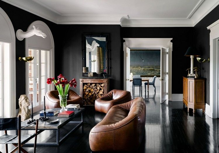 Wandfarbe Schwarz Braune Möbel Weiße Decke #innendesign #interiordesign