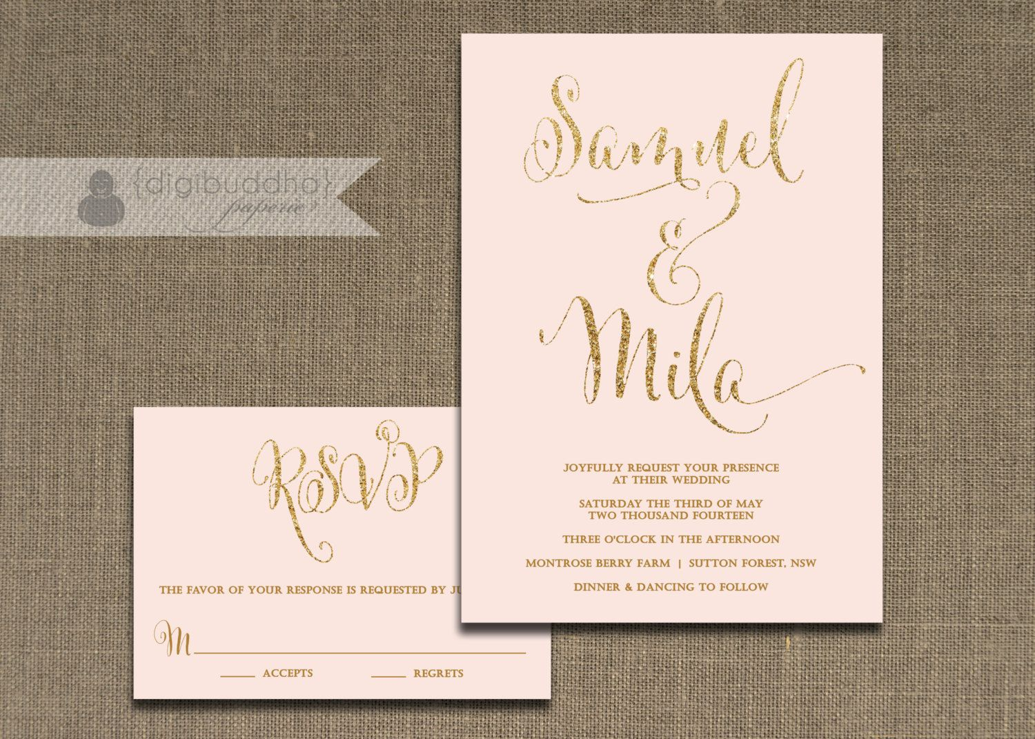BlushPinkandGoldWeddingInvitation BlushPinkandGoldWeddingInvitation Wedding idea Pinterest