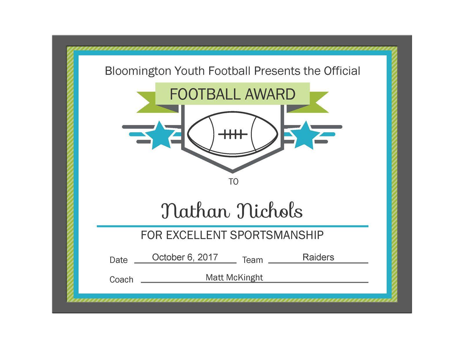 Editable Pdf Sports Team Football Certificate Award Template In