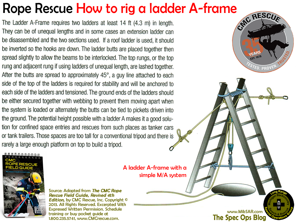 The Spec Ops Blog Rope Rescue How To Rig A Ladder A Frame Rescue Fire Training Emergency Response