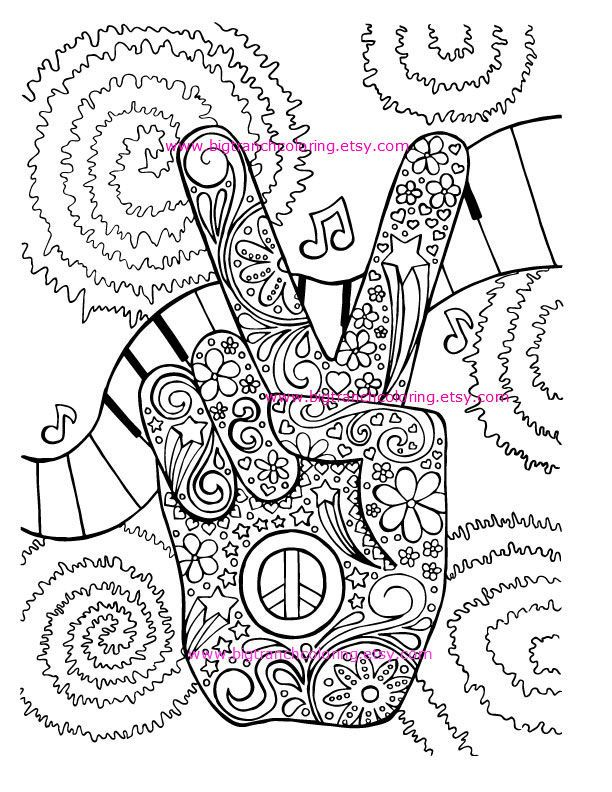 Adult Coloring Page Hippie Retro Peace by BigTRanchColoring | Hippie ...