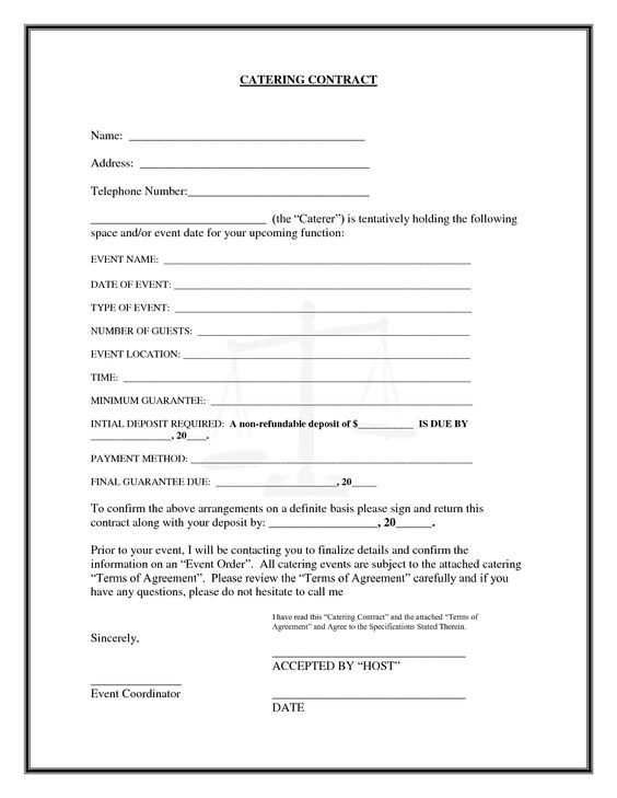 Catering Contract CATERING CONTRACT Name catering businedd - wedding contract templates