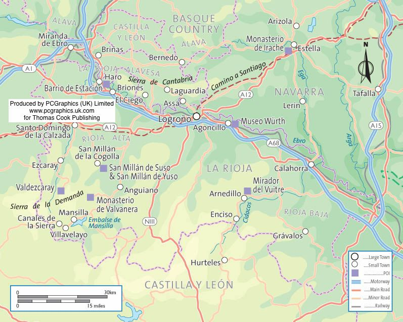Map of La Rioja Northern Spain produced by PCGraphics for Thomas