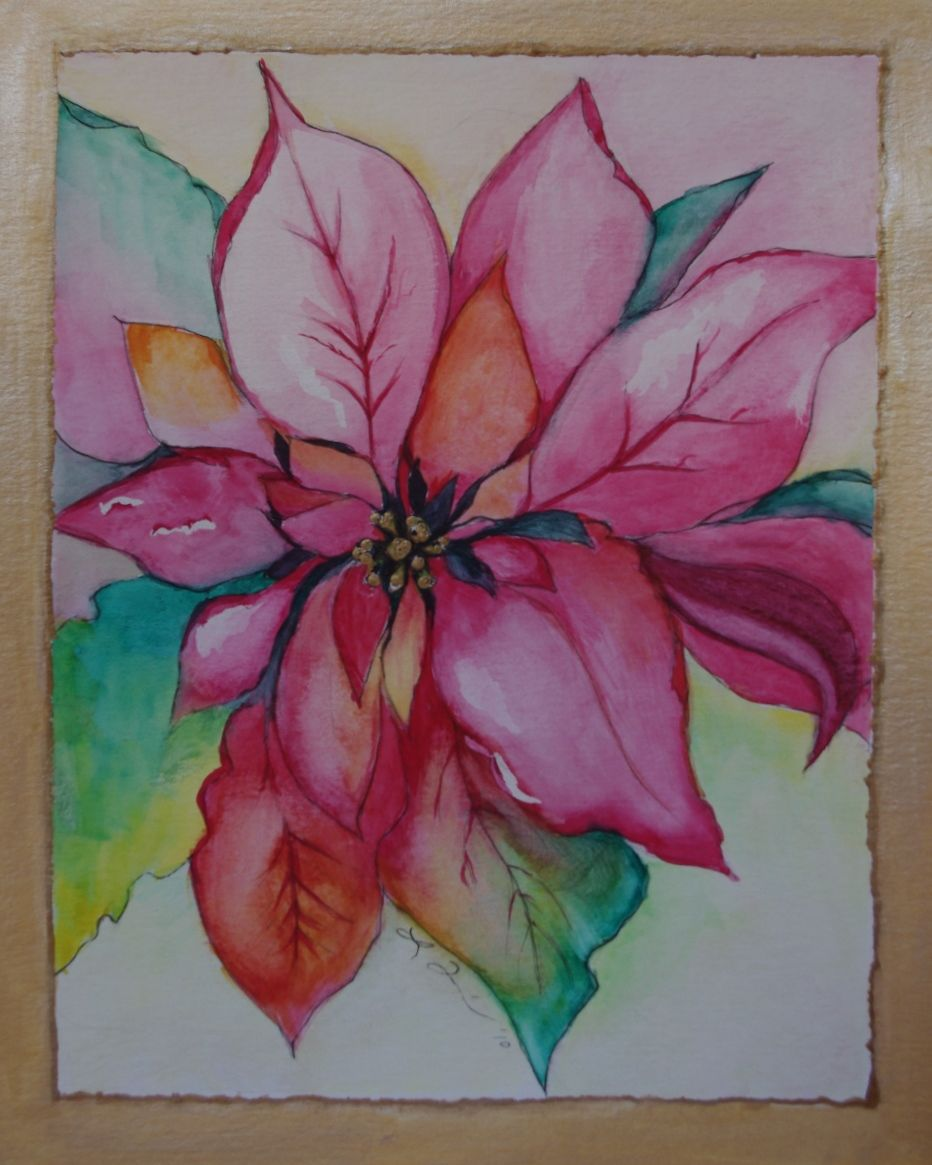 Learn how to paint a beautiful watercolor poinsettia christmas learn how to paint a beautiful watercolor poinsettia christmas card dhlflorist Image collections