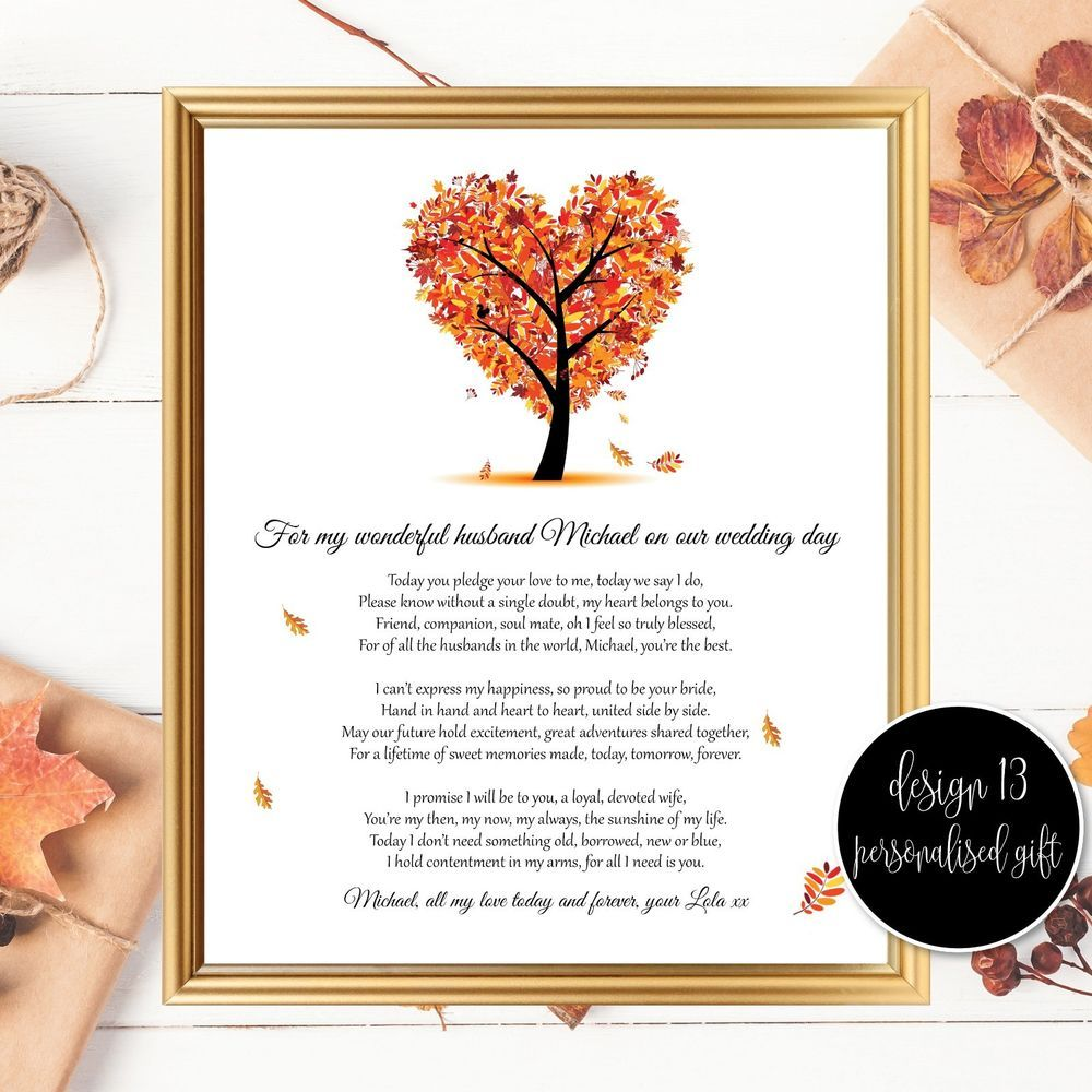 Wedding Poems For Bride And Groom: Personalised Husband Wedding Day Poem Gifts, Groom Wedding