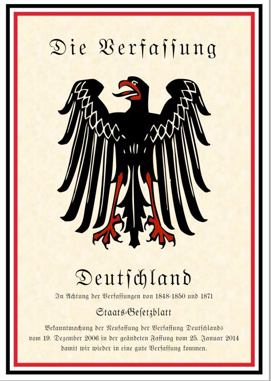Neufassung der Verfassung des Deutschen Reichs vom 19. Dezember 2006 in der geänderten Fassung vom 25. Januar 2014