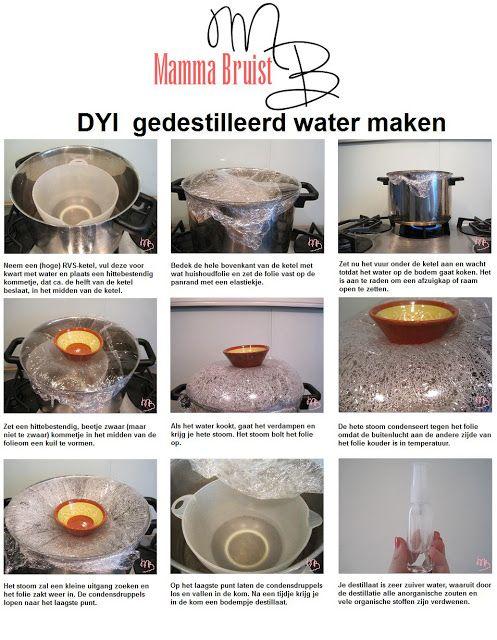 Mamma Bruist  DIY gedestilleerd water maken (basis voor home-made beauty producten)  http://mammabruist.blogspot.nl/2013/06/diy-gedestilleerd-water-maken.html