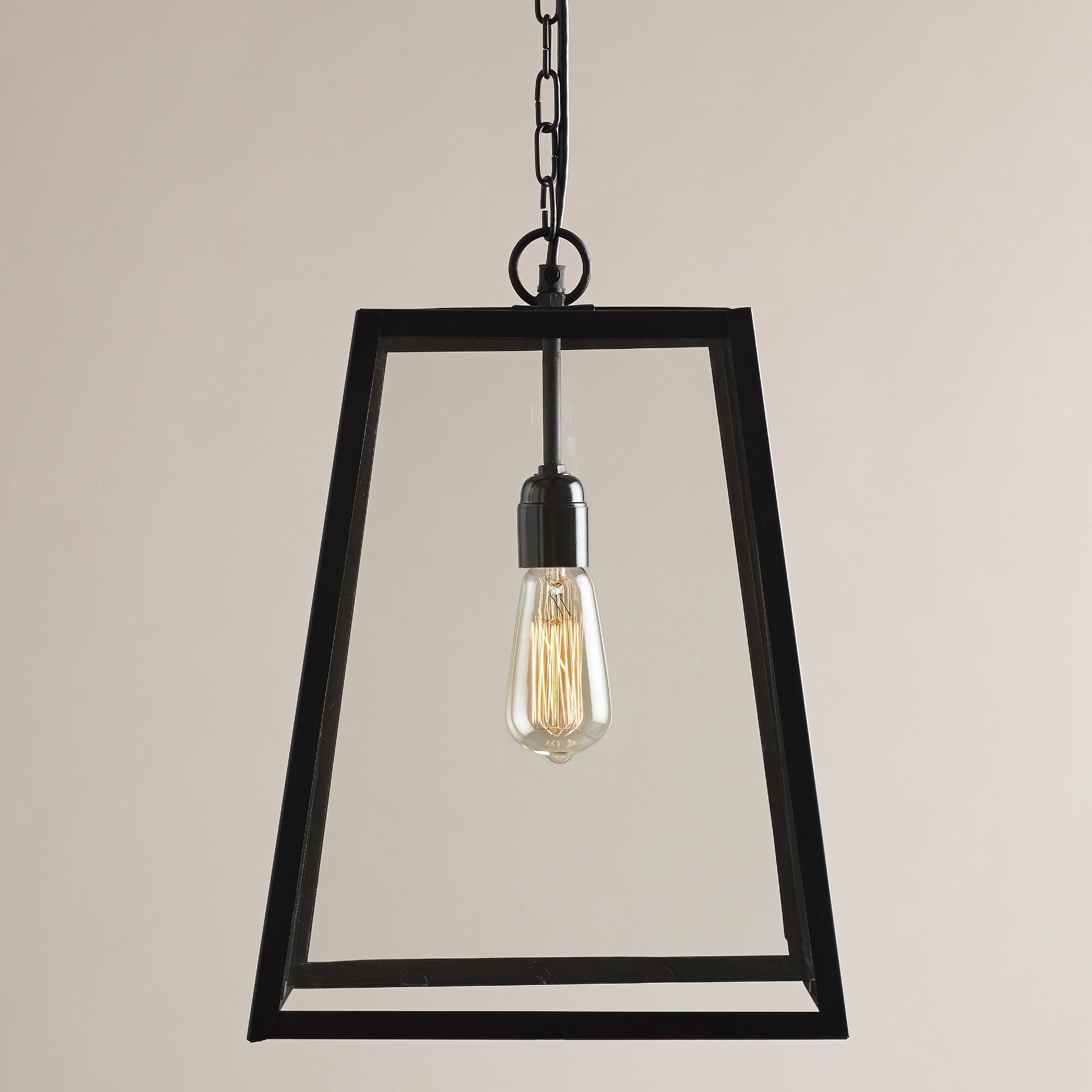 Four Sided Glass Hanging Pendant Lantern