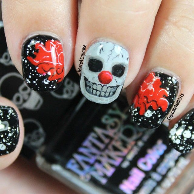 Cupcakenailarts S Photo On Instagram This Is One Of The Best Halloween Nail Art Ever This Is One Sca Halloween Nail Art Halloween Nails Diy Halloween Nails