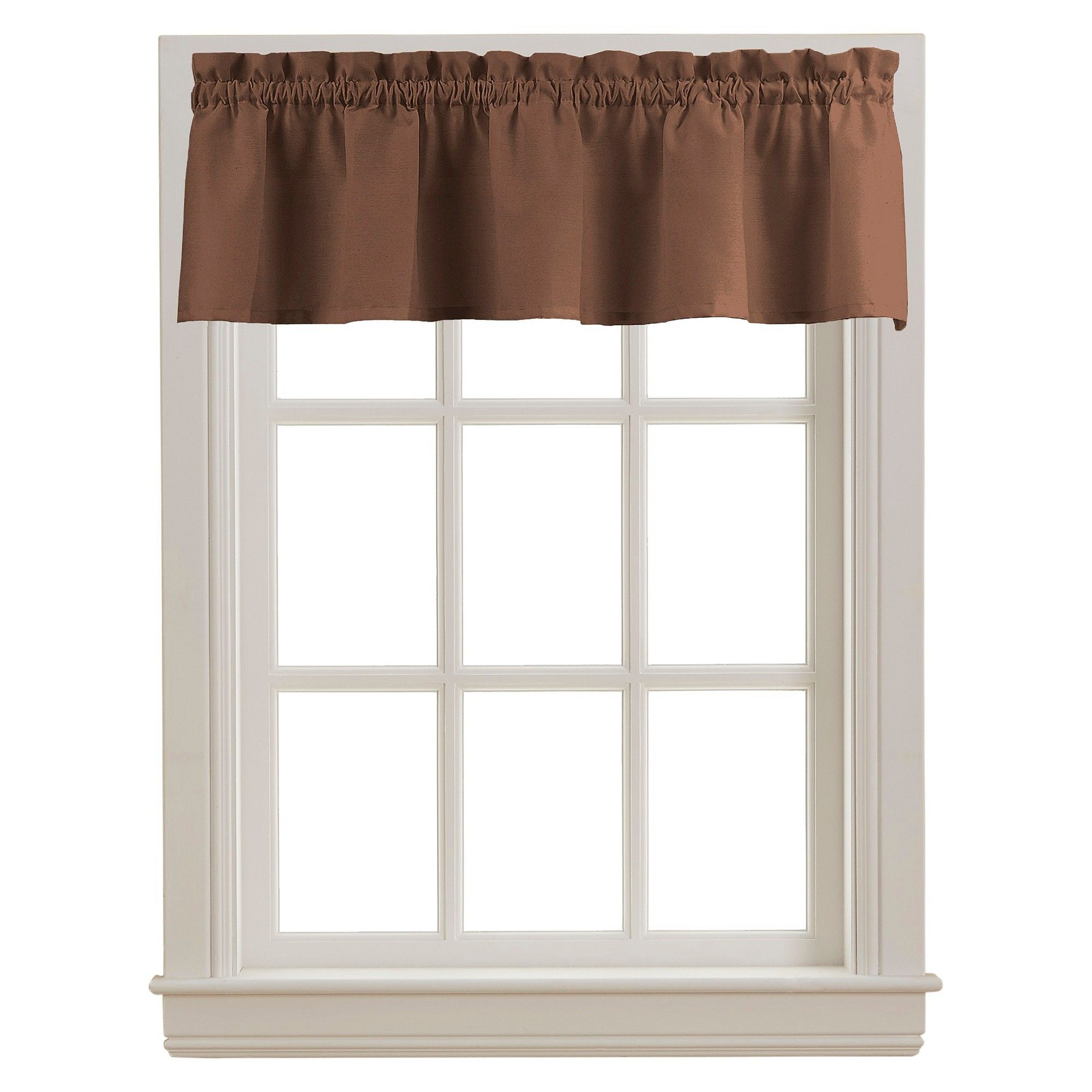 Peach Skin Valance Chocolate Brown 84 Chf Industries Valance Home Cafe Curtains