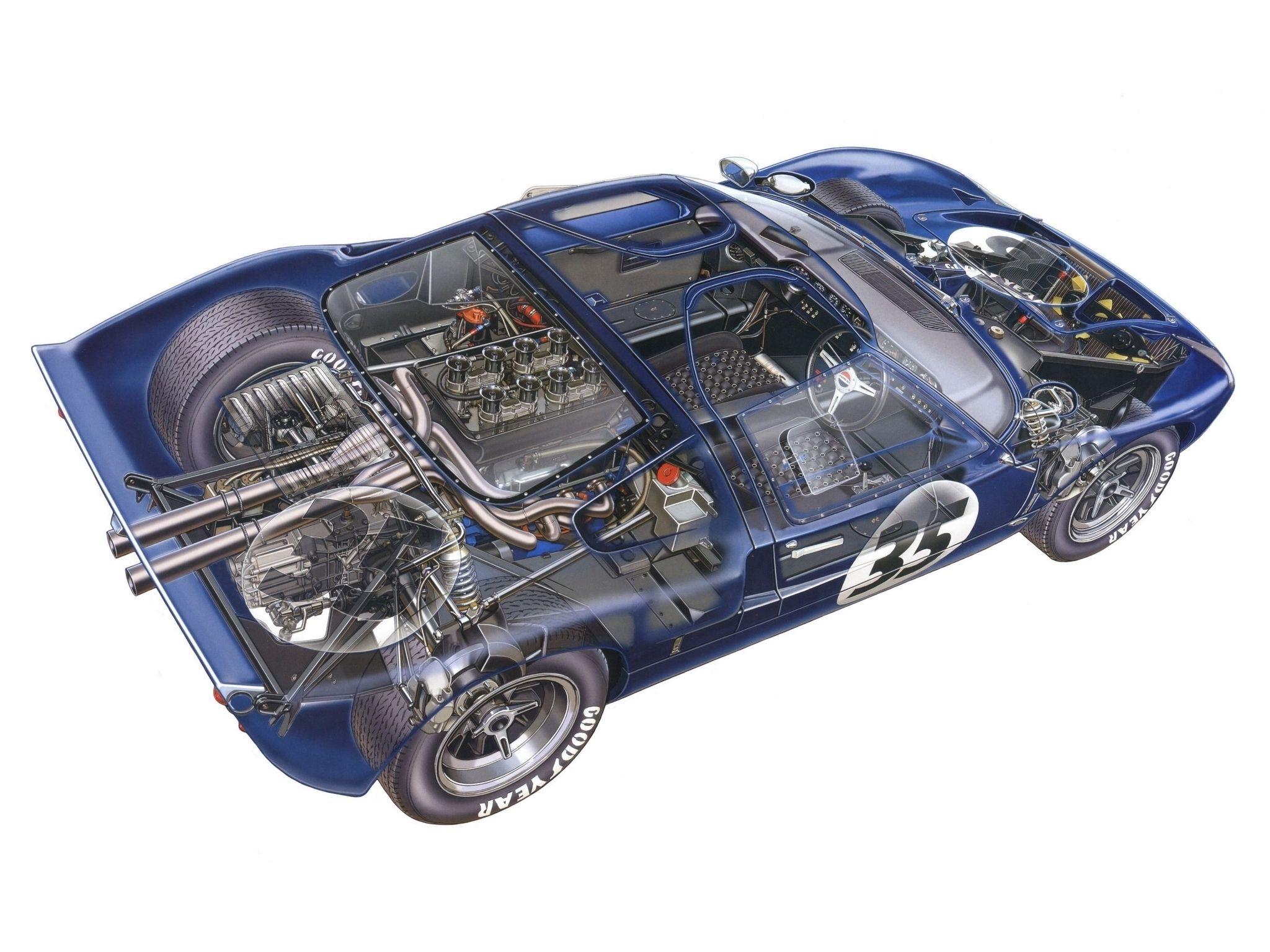1965 66 ford gt40 mkii cutaway by david kimble unverified