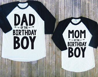 Mom And Dad Of Birthday Boy Raglan Version Matching Family Parents Shirt