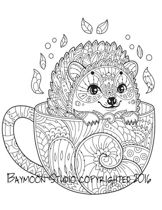 Hedgehog In Coffee Mug Coloring Page Animal Coloring Pages Mandala Coloring Antistress Coloring
