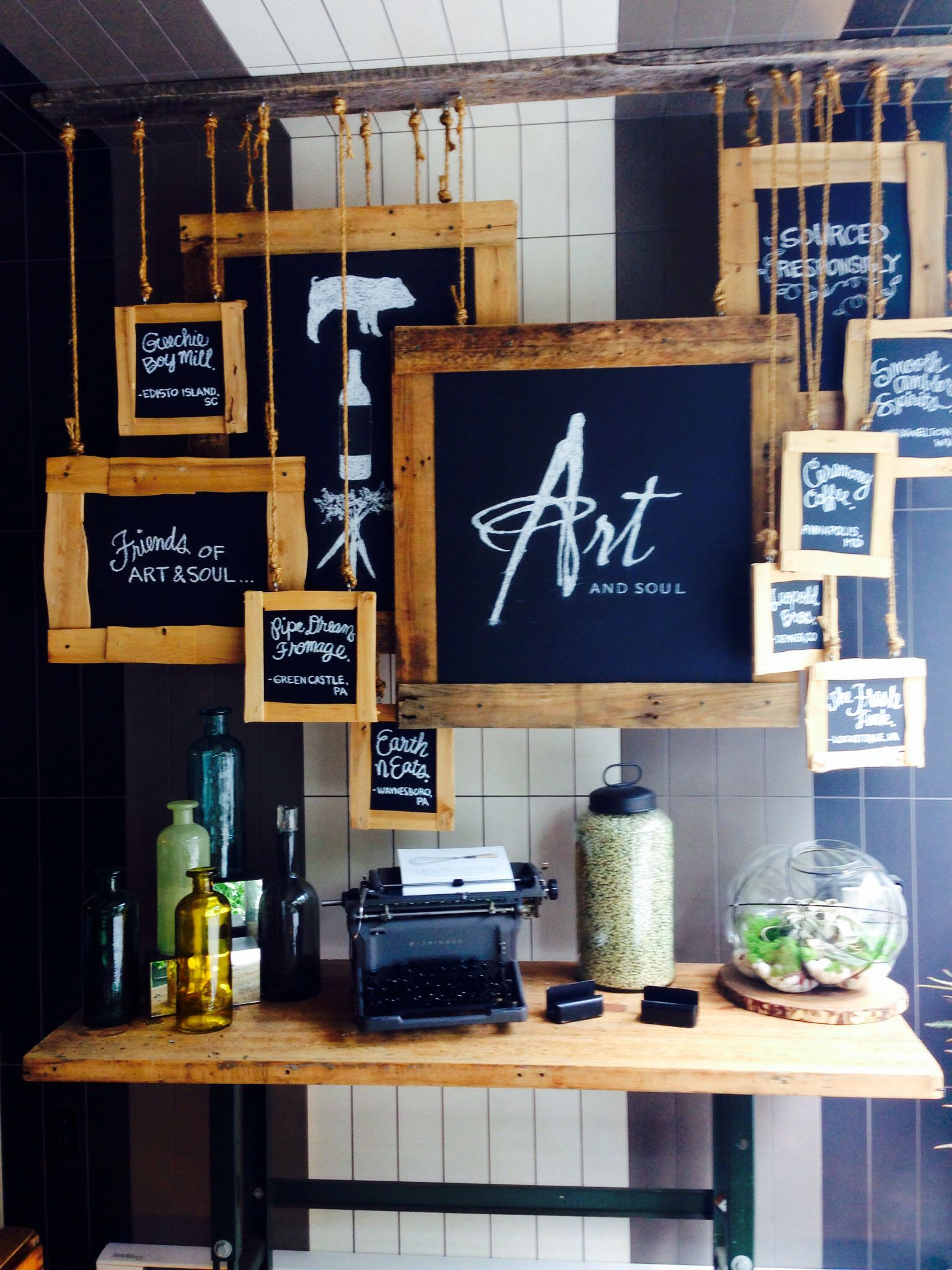 Art soul wall display at restaurant entrance made with