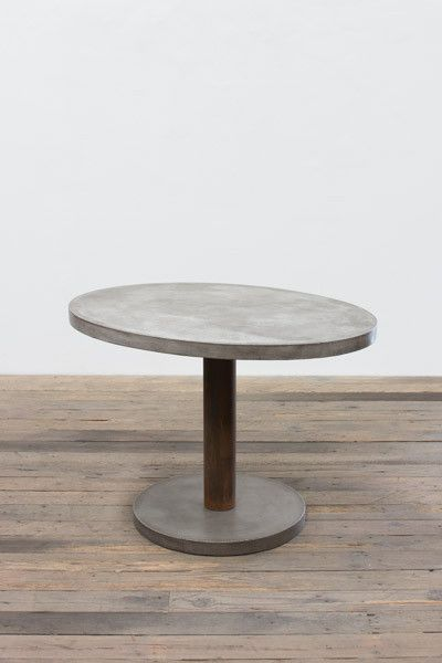 Oval Concrete Dining Table With Rustic Metal Pedestal Concrete - Oval concrete dining table