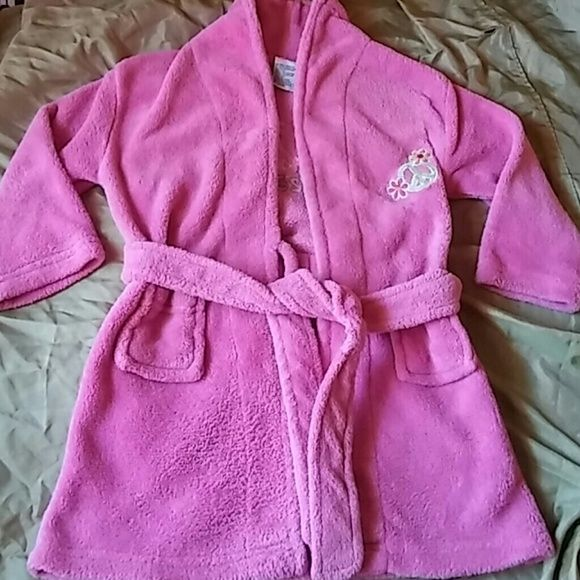 Little girls bathrobe Little girls pink peace flower symbol bathrobe detailed pockets  in attached  tying belt,used in good condition size is 4T Intimates & Sleepwear Robes