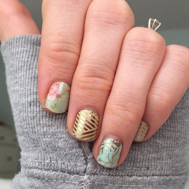 Jamberry Nails - Vintage chic + Gold crisscross + Fresh fern | MAKE ...