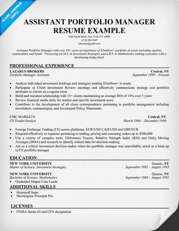 Assistant Portfolio Manager Resume Sample Resume Samples Across - resume internship examples