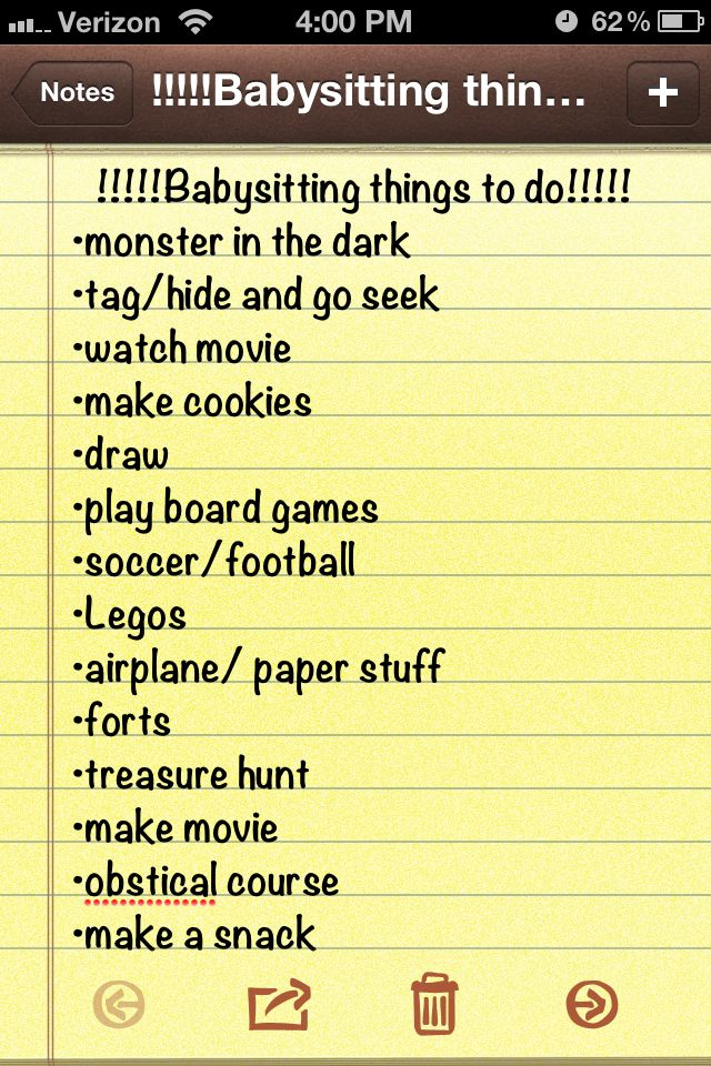 just a few great ideas for babysitting