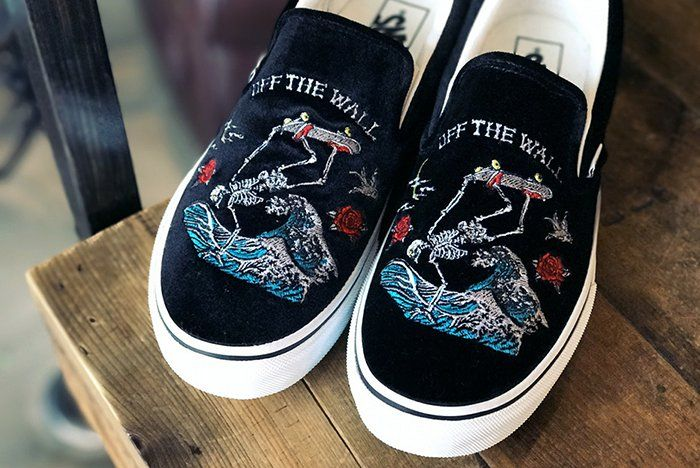 Rollicking Give the Vans Slip-On a Souvenir | Vans, Embroidered ...