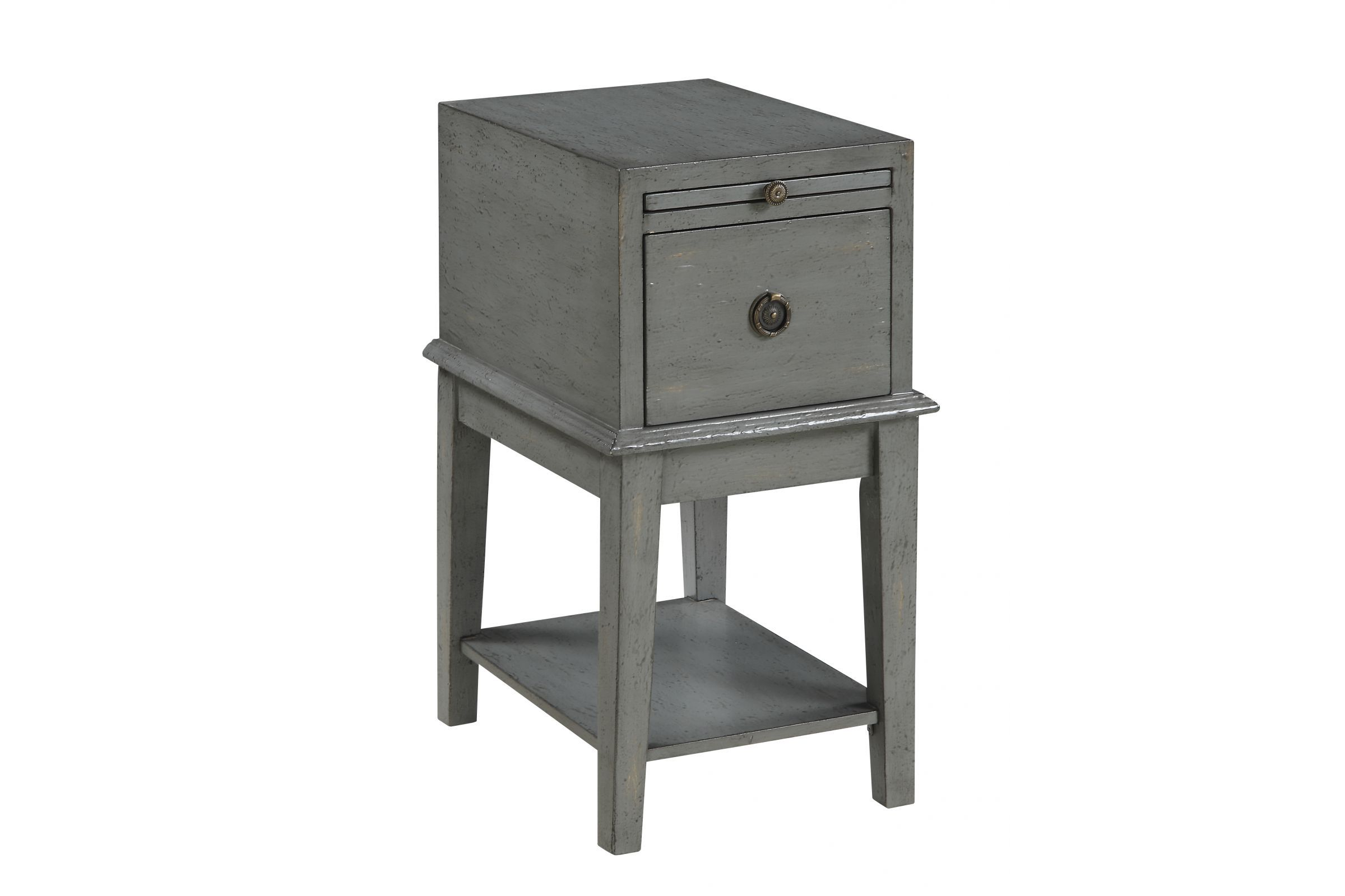 Chairside Table In Grey In 2020 End Tables With Storage Chair