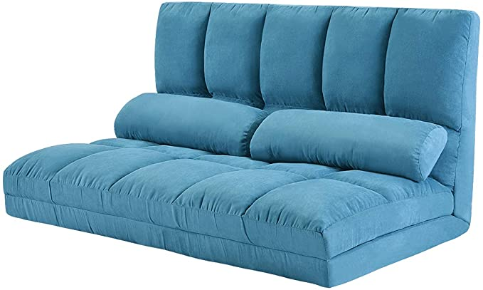 Amazon Com Double Chaise Lounge Sofa Chair Floor Couch With Two Pillows Blue Kitchen Dining In 2020 Floor Couch Chaise Lounge Sofa Chaise Lounge