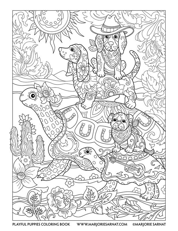 Cowboy Pups : Playful Puppies Coloring Book by Marjorie Sarnat ...
