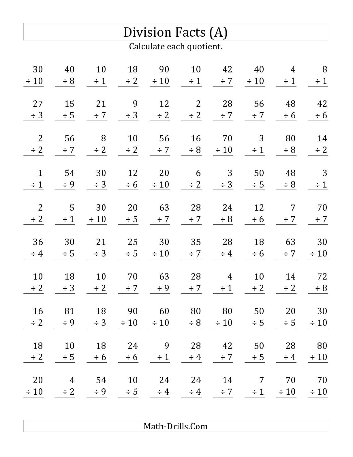 The Vertically Arranged Division Facts To 100 A Math Worksheet From The Division Worksheet
