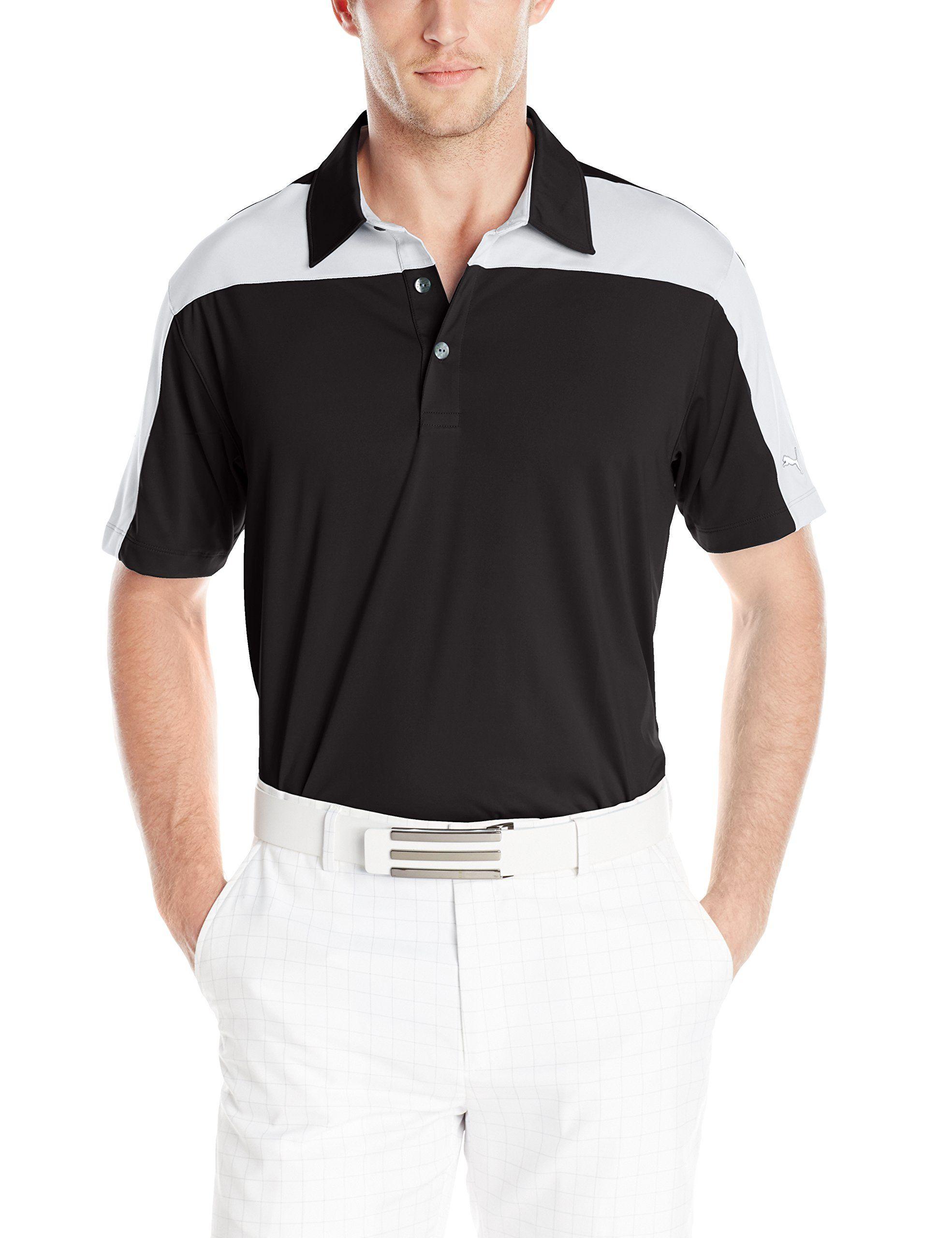 6ca46ff5fe07 Men Golf Clothing - PUMA Golf Mens Color Block Tech PoloCresting Shirt  Black White Medium