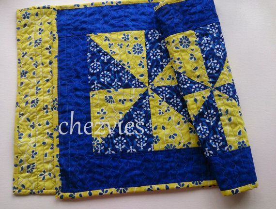 Hey, I found this really awesome Etsy listing at https://www.etsy.com/listing/200313245/blue-and-yellow-pinwheel-table-runner