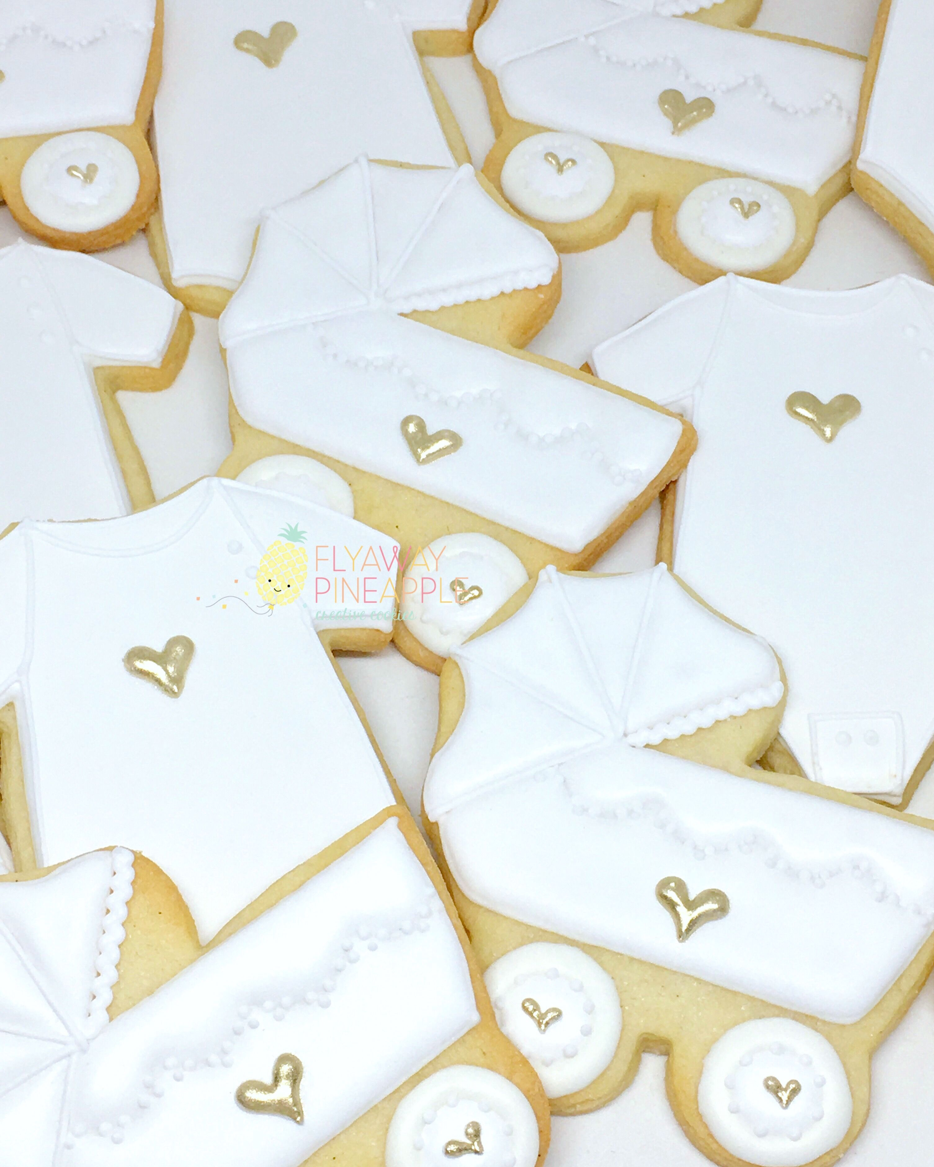 Baby shower cookies, indie cookies, baby carriage cookies, white and gold baby shower