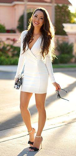 White Long Sleeve Wrap Front Structured Plunge V Neck Dress
